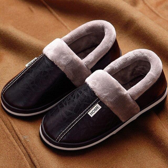 Kış ev terlikleri erkekler deri peluş erkek ayakkabı su geçirmez artı boyutu 11.5-15 anti kirli ev terliği paketi olmayan kayma