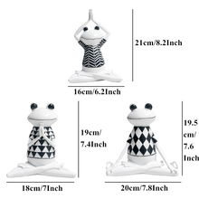 Model For Office Home Decor Flat Back Resin 3 Styles White Stripes Frog Yoga Figurines Animal Statue Cute Accessories