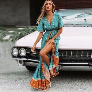Image 1 - TEELYNN maxi Abiti Vintage Floral stampa sexy profondo scollo a v ncek Gypsy abiti estivi perdono Hippie Delle Donne vestito lungo boho abiti 2019