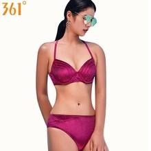 Купить с кэшбэком 361 Sexy Velvet Bikini Set Swim Wear Women 2018 Underwire Push Up Bikinis M-2XL Quality Female Swimsuit Girl Halter Bathing Suit