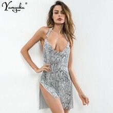 Sexy Metal Chain vintage snake print Summer Dress Women Nightclub glitter Diamond Backless Bodycon Sequin Dresses vestido 2019