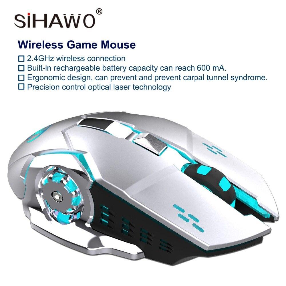 Souris sans fil 2.4 GHz souris de jeu conception ergonomique souris de jeu 2400 DPI DC 3.7V18mA 10 millions de fois cliquez sur souris d'ordinateur portable USB