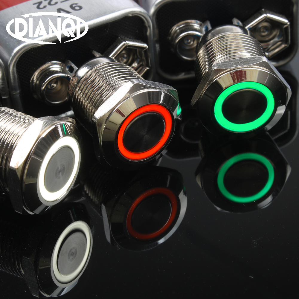 12mm Flat Round Head Waterproof Momentary Metal Push Button Switch LED Light Car Horn Auto Reset Switches Power Self-Recovery