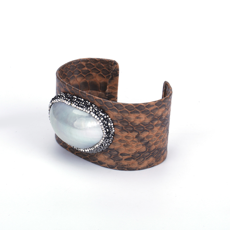New Pump Shell Connector Charm Rhinestone Spot Pattern White Grey Brown Green Blue Real Leather Big Wide Open Adjust Bangle Cuff