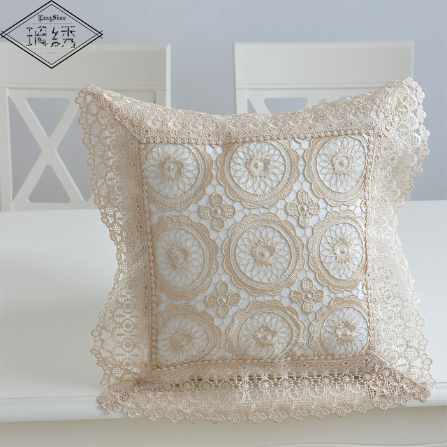 Special Sales 45cm Square Home Decorative Light Coffee Cream White Pure Lace Embroidered Pillow Case