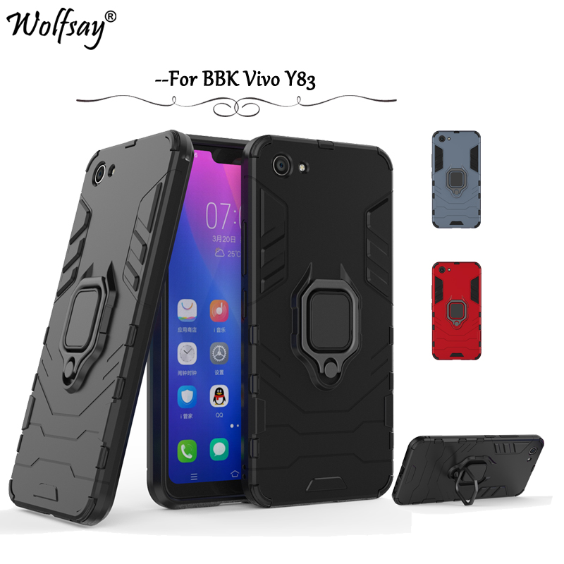 Vivo Y83 Case Cover Armor Metal Finger Ring Holder Case Magnetic Case For Vivo V83 Silicone Cover For BBK Vivo Y83 Shell Fundas