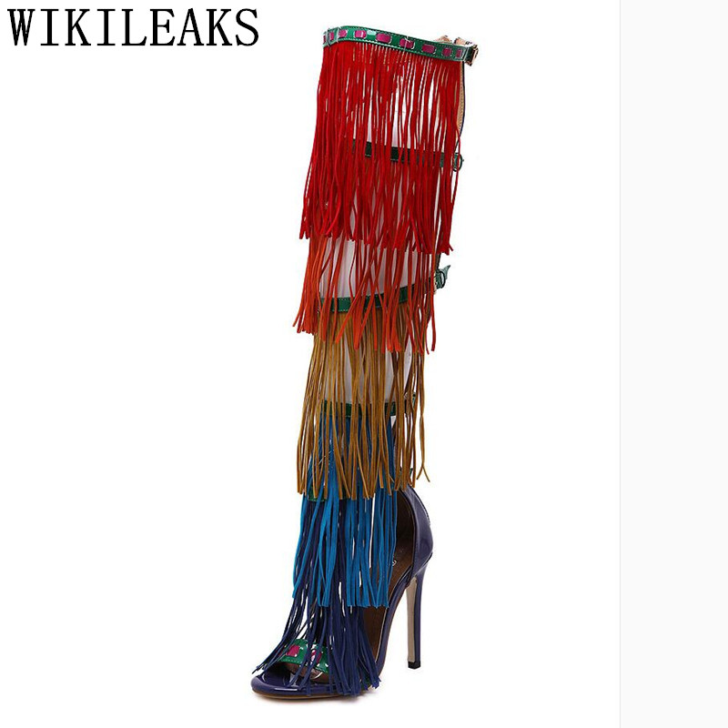 designer summer sandals boots peep toe women over the knee boots luxury brand colorful fringe high heel boots dance party shoes hot sale women denim long thigh high heel boots sexy peep toe boots summer over knee cowboy holes sandals women shoes
