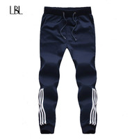 2018 New Fashion Tracksuit Bottoms Mens Casual Pants Cotton Sweatpants Mens Joggers Striped Pants Gyms Clothing