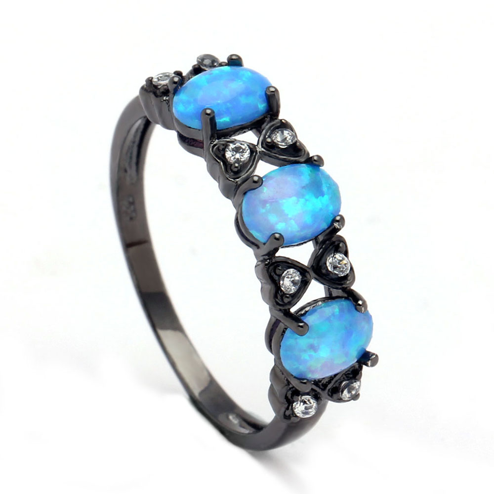 Fashion Blue Fire opal jewelry New Bow tie style ...