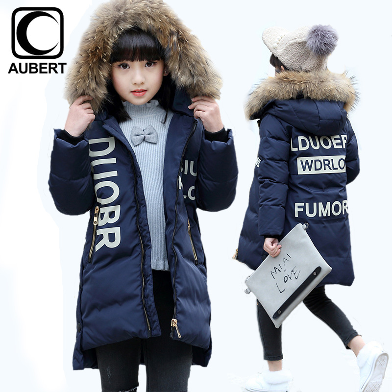 New Girls Down Jacket Coat Fur Collar Winter Kids Parkas Thick Warm Letter Printed Outerwear Children Down Clothing for Teens 2017 new baby girls boys winter coats jacket children down outerwear warm thick outdoor kids fur collar snow proof coat parkas