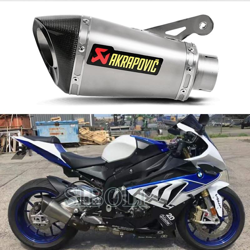 60mm For BMW S1000RR 2015 2016 2017 Motorcycle Slip On Exhaust Akrapovic Muffler Carbon Fiber Steel Pipe Moveable DB Killer