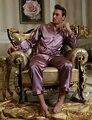 2017 Продажа Мужчины Пижамы Pijamas Эмуляции Шелковые Пижамы Полный Рукавом Botton Повседневная отложным Воротником Пижамы Эластичный Пояс 1529