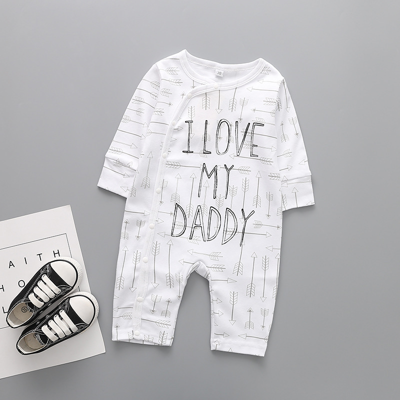 2018 Baby Clothing Newborn jumpsuits Baby Boy Girl   Romper   Clothes Long Sleeve Infant I love mmmy daddy printing 1 9 12 Months