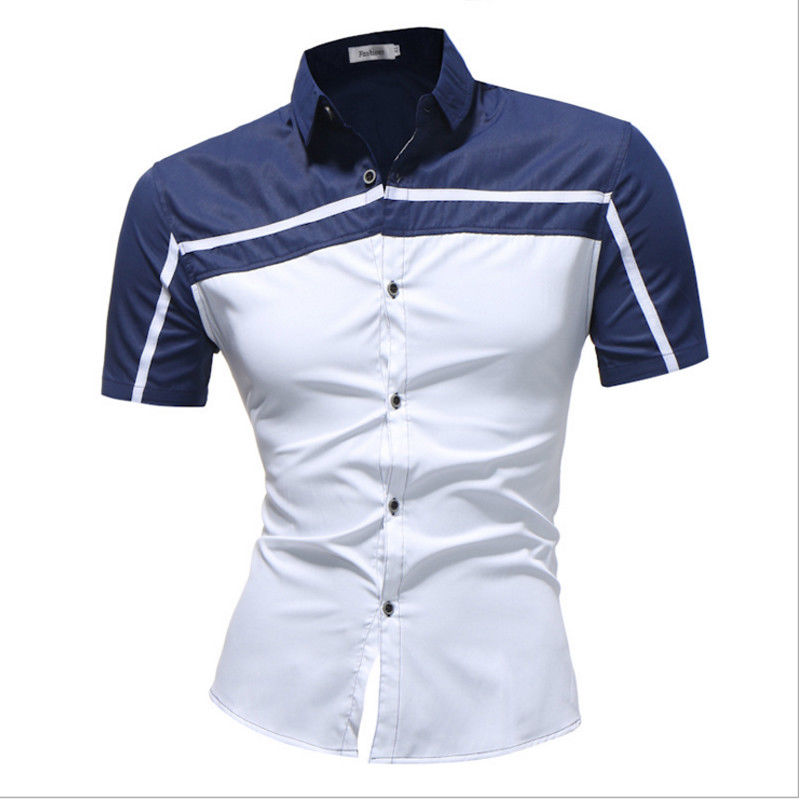Plua Size New Luxury Slim Men Fit Shirt Short Sleeve Business Formal Casual Tops Patchwork Contrast Color Fashion Clothes Summer