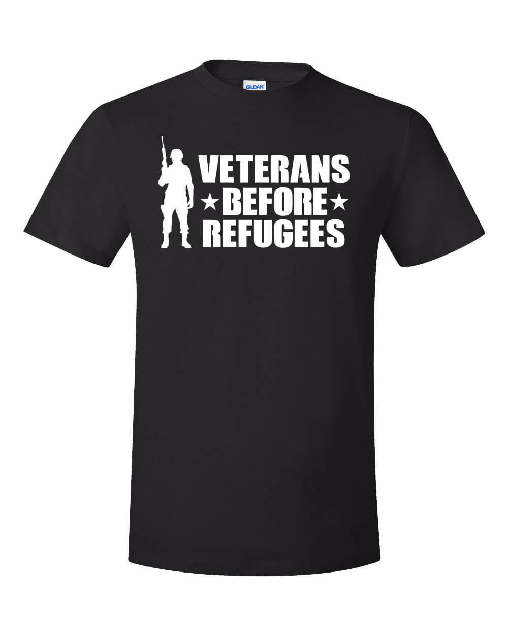 2018 Fashion Summer Style Veterans Before Refugees T-Shirt Trump Military Support Travel Ban Meme USA MAGA Tee Shirt image