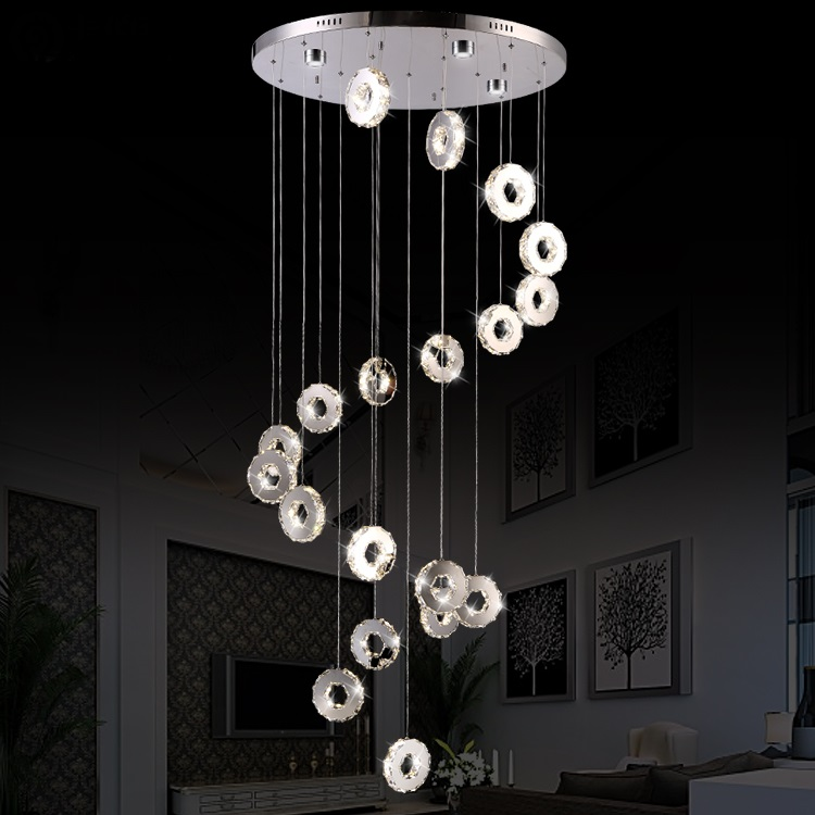 atmospheric rotating pendant light Living room lamp modern simple double staircase lamp long led living room  zcl chinese style simple led long block crystal villa staircase pendant lamp revolving double staircase living room lighting pendant