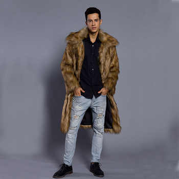 2018 New Autumn Winter New Men\'s Square Collar Faux Mink Fur Long Coat High-grade Man Comfortable Thick Warm Windbreaker