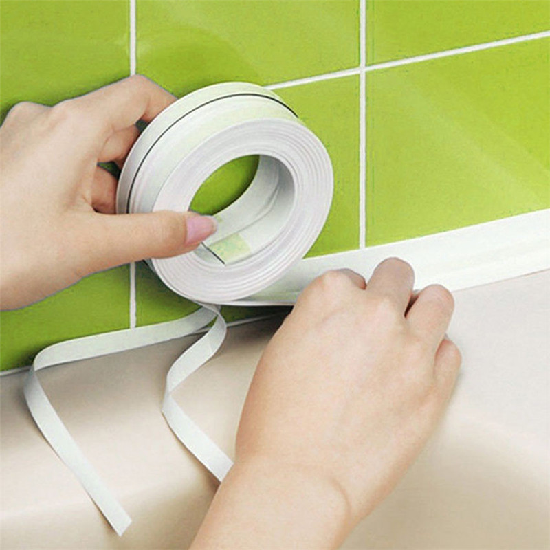 White Bath Mats Wall Sealing Tape Waterproof Mold Proof Adhesive Tape Kitchen Bathroom 3.2mx3.8cm