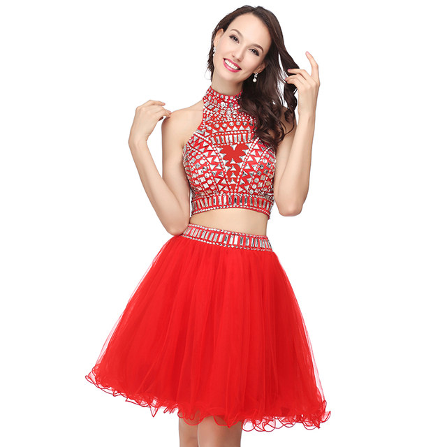 Online Shop Sexy 2017 Coral Short Cocktail Dresses Beads Crystal 2 ...