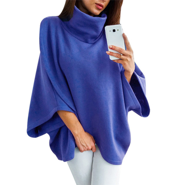 c15bb6ae272 Long Oversized Womens Turtleneck Hoodies Sweatshirt Sudaderas Mujer 2018 Asymmetric  Female Poncho Hooded Tracksuit Sweat Femme-in Hoodies   Sweatshirts from ...