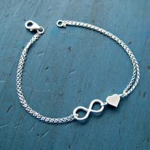 trendy design women infinity charm bracelet High quality girl sliver heart beads chain bracelets fine Accessories n90