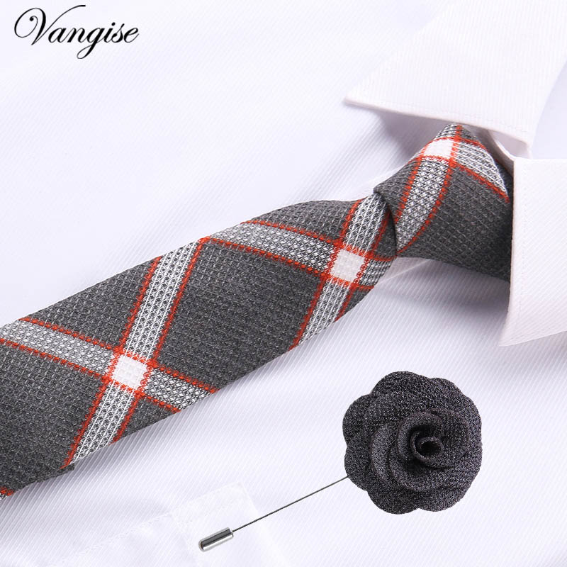 Jacquard Stripe Yellow Plaid Pink Skinny Ties set for Men Wedding Tie Slim Men Luxury Tie brooches Gemelli Set Kravat Neckwear plaid