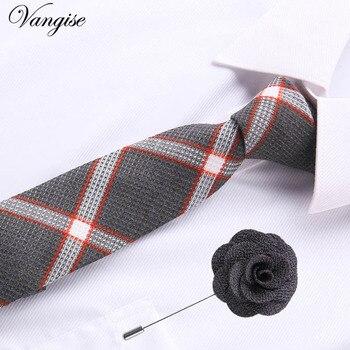 Jacquard Stripe Yellow Plaid Pink Skinny Ties set for Men Wedding Tie Slim Men Luxury Tie brooches Gemelli Set Kravat Neckwear цена 2017