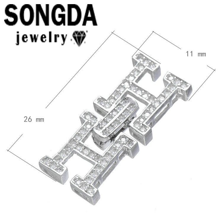 SONGDA Letter H Design Connector Clasp Micro Pave CZ Toggle Clasps For Bracelets Necklaces Fine Jewellery Making Findings PE0035