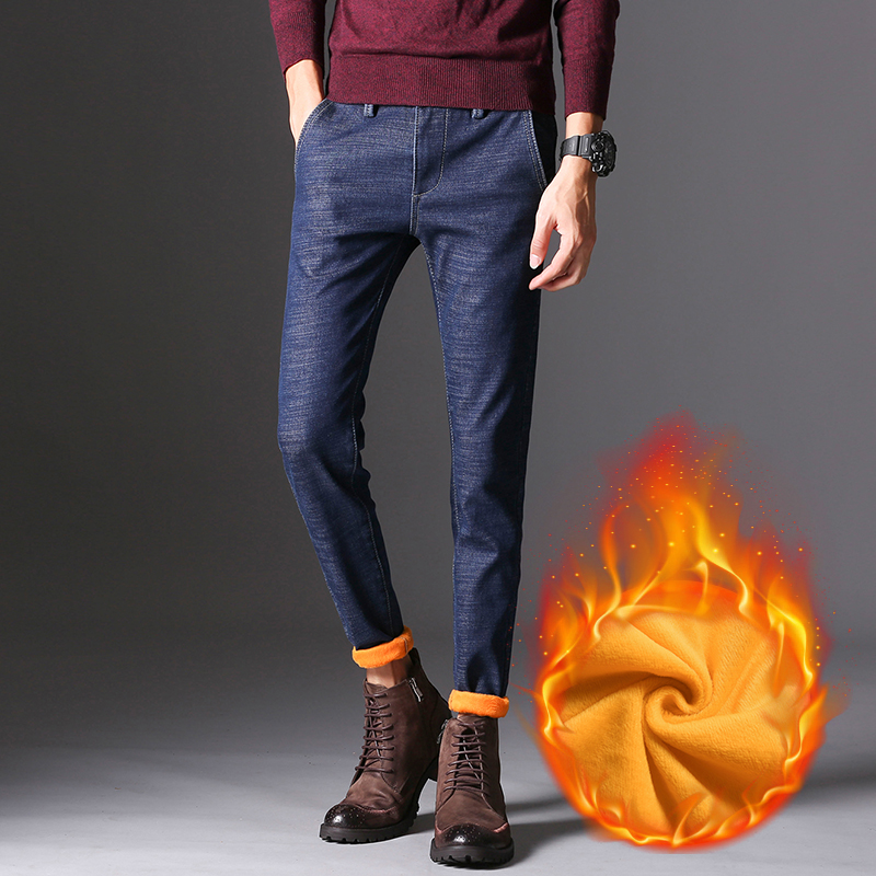 KSTUN Men's Jeans Winter Thick Warmer Fleece Heat Insulated Elastic Waist Slim Fitness Casual Denim Pants Students Boys Trousers 11