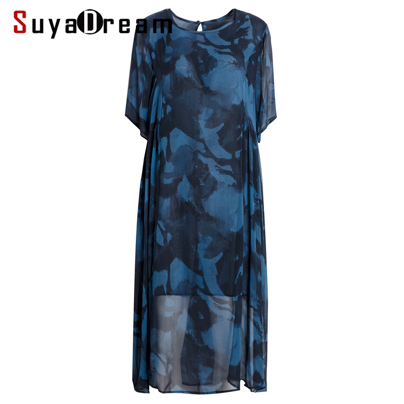 Women Silk Dress 100 SILK Georgette Double Layers Print Dressed O neck Short Sleeved Casual Dresses