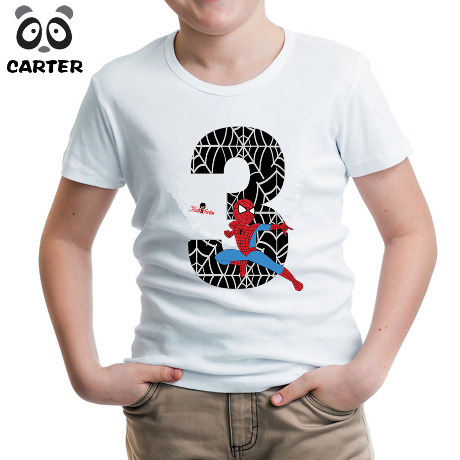 Cartoon Spiderman Number Happy Birthday T Shirts For KidBoy And Girl 3th 4th 5th 6th 7th 8th TopsAdd Your Name