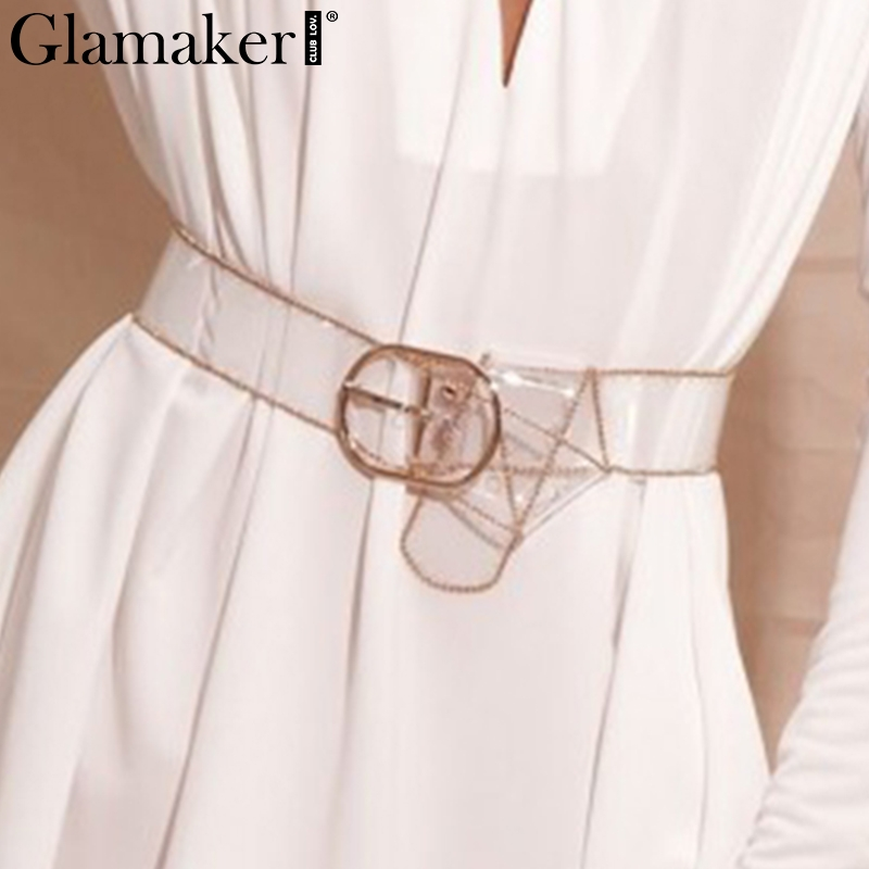 Glamaker Transparent Casual Pu Leather Belt Cummerbund Luxury Fashion Party Chic Belt Female Summer Charm Buckle Belt For Women