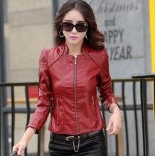 Women leather coat Outfit female jacket motorcycle Clothing girls Plus size 5XL red Jaqueta moto feminina outerwear Z930