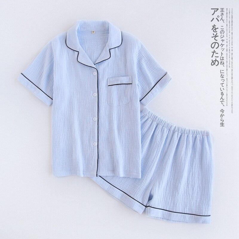 Image 5 - Navy blue crape 100% cotton short pajamas sets women summer Sexy pure color pijamas mujer pyjamas women casual indoorwear-in Pajama Sets from Underwear & Sleepwears