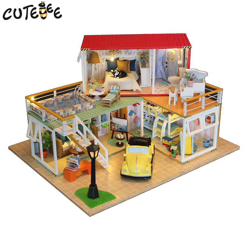 CUTEBEE Doll House Miniature DIY Dollhouse With Furnitures Wooden House Toys For Children Birthday Gift 13841 cutebee doll house miniature diy dollhouse with furnitures wooden house toys for children birthday gift home decor craft m017