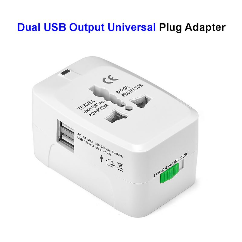 Universal Plug Adapter With Dual USB Output European EU US AU UK Travel Power Adapter Electrical Socket Outlet