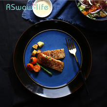 10.5 Inch Ceramic Plate Creative Retro Gradient Blue Western Dish Restaurant Tableware Steak Plates For Kitchen Supplies