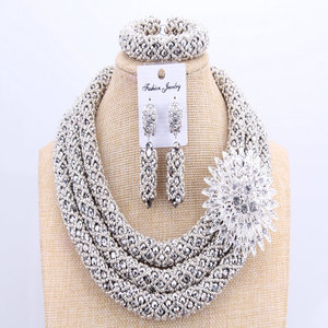 Image 5 - 3 Layers African jewelry sets Wedding Silver Crystal Beads Jewelry Sets Elegant Nigerian Wedding Necklace Jewelry Set Brand New