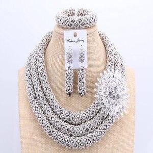 Image 5 - 3 schichten Afrikanischen schmuck sets Hochzeit Silber Kristall Perlen Schmuck Sets Elegante Nigerian Hochzeit Halskette Schmuck Set Marke Neue
