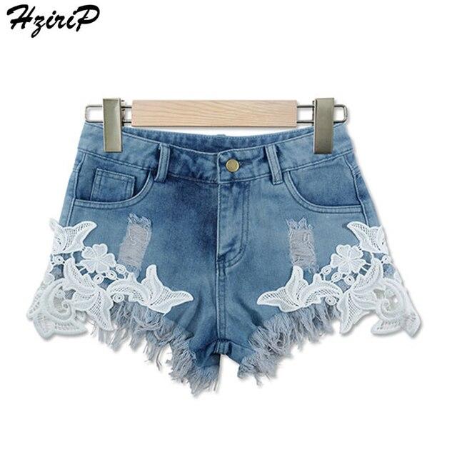 Hzirip moda Encaje costura borla corta Vaqueros mujeres Pantalones cortos  Denim Mujer bolsillos lavado alta cintura 7e7c9c778299