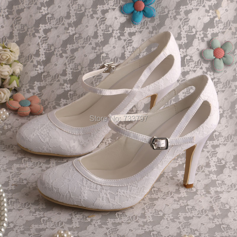 janes story ja025bwhed31 Custom Mary Janes Pumps Lace Bridal Shoes White Lace Shoes High Heel Dropship