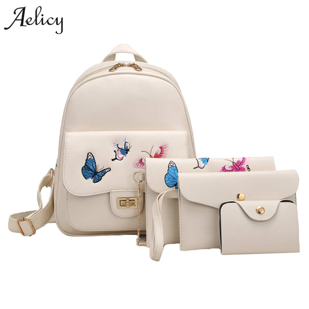 Women's Bags Aelicy New Arrival 4pcs/set Butterfly Embroidery Women Backpack Pu Leather Teenager School Girls Bags Female Shoulder Bag Purse