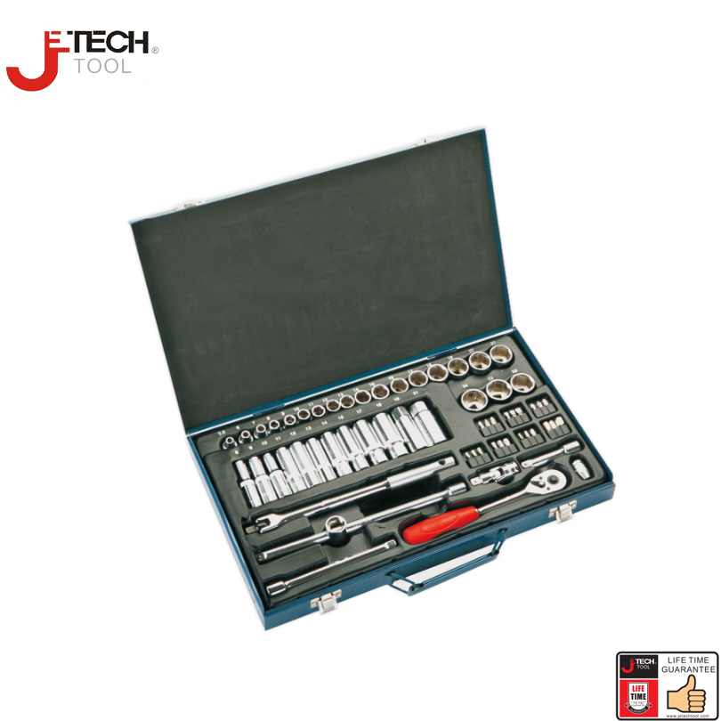 Jetech 61pcs 3/8-inch drive metric socket wrench spanner sets 6-point car repair tool sets with tool box xkai 14pcs 6 19mm ratchet spanner combination wrench a set of keys ratchet skate tool ratchet handle chrome vanadium
