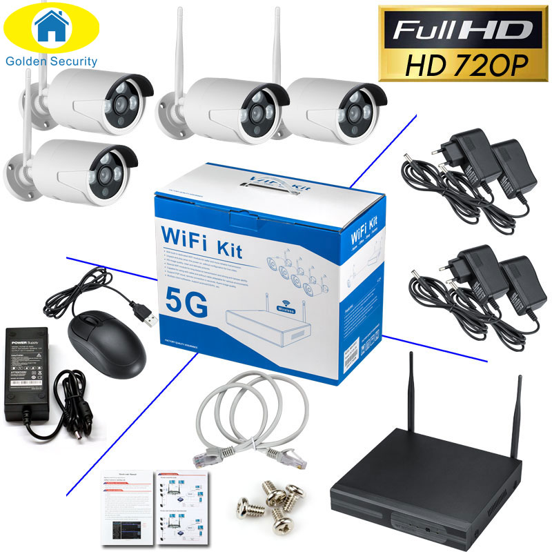 Golden Security 4CH 1080P HD Wireless NVR Kit P2P 720P Indoor Outdoor IR Night Vision Security IP Camera WIFI CCTV System free shipping dahua 4ch nvr wireless cctv system 720p hd h 264 ir outdoor security ip camera wifi surveillance kit