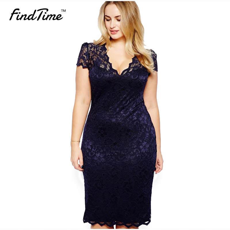 Spring Dress 2016 New European and American Black 4XL Women's Large Size Hollow Long-short Sleeve Sexy V-neck Lace Dress