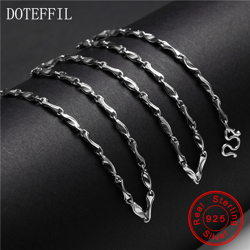 Women 925 Silver Necklace Charm Fashion 100% Sterling Silver 16g 50cm Ingot Chain Necklace Women's Jewelry