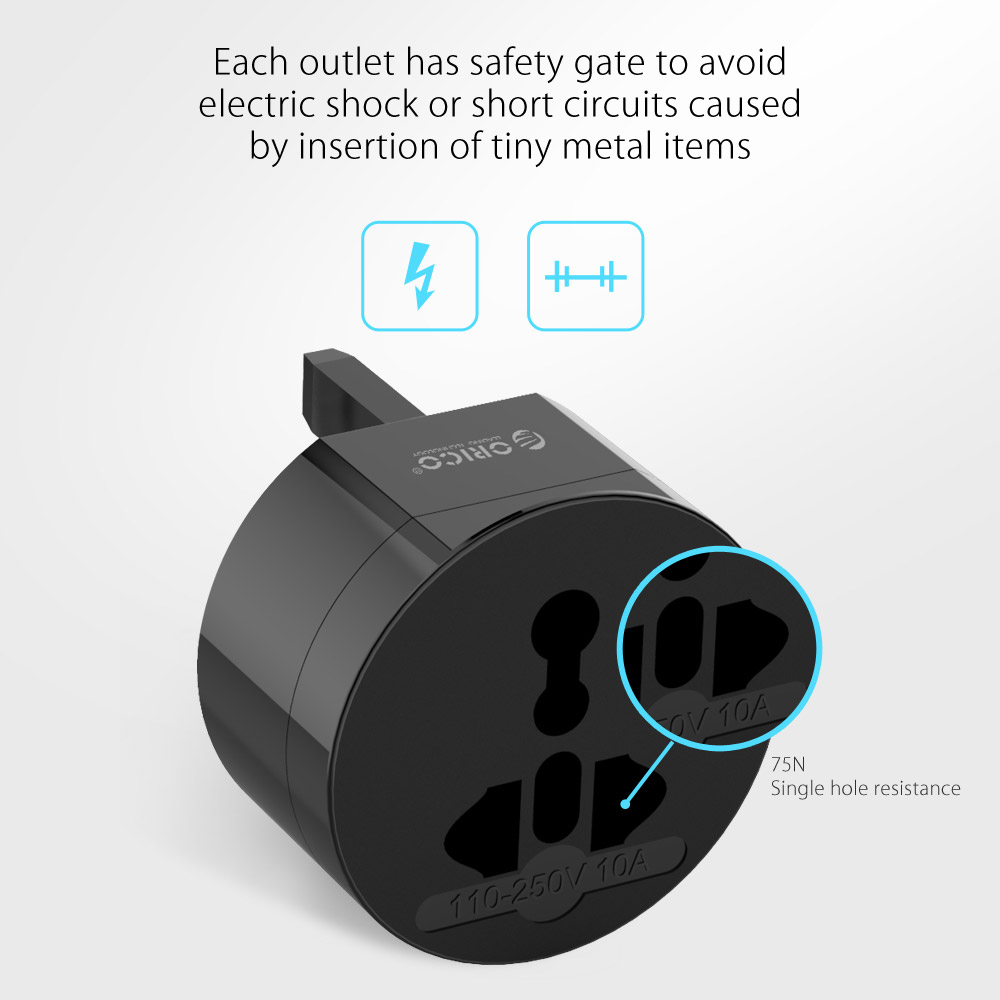 Image 3 - ORICO Electrical Universal Adapter Plug All in One International Travel Adapter Travel Socket USB Power Charger Converter-in International Plug Adaptor from Consumer Electronics