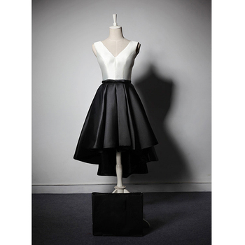 new custom Lace up Simple Small Sash Prom dress V neck Short Front Long Back fashion dinner Toasting Short evening dress