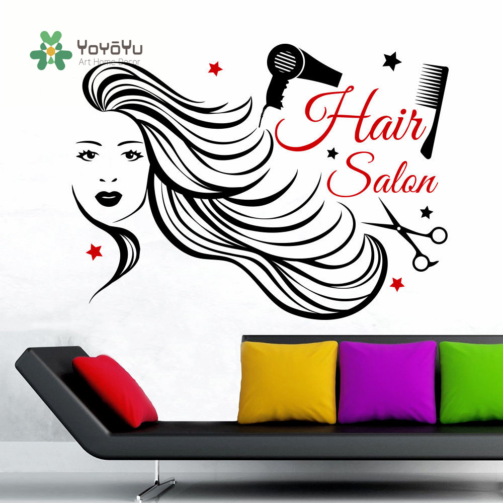 YOYOYU Wall Decals Beauty Salon Hair Baber Shop Wall