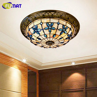 FUMAT 12/14/16 Inch Round Lilac Ceiling Lamp Shell Ceiling Light Bedroom Corridor Light Mediterranean Art Shell Ceiling Lamps